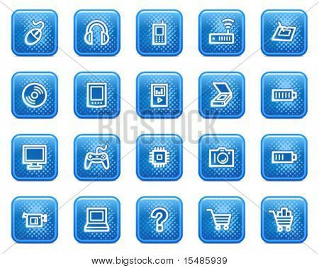 Electronics web icons, blue square buttons with dots