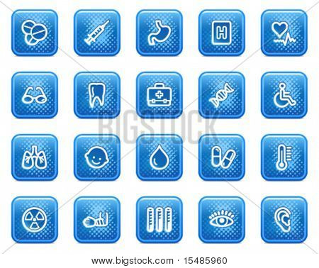 Medicine web icons, blue square buttons with dots