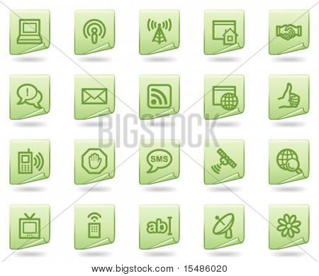 Internet communication web icons, green document series