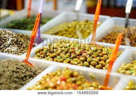 Assorted Olives On Farmer's Market
