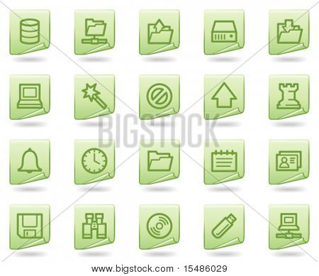 Server Web Icons, grüne Dokument Serie
