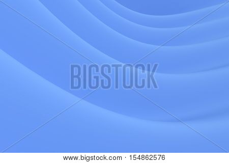 Abstract blue background, computer generated waves, 3D illustration. Simple, light, minimalist.