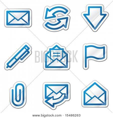 E-mail web icons, blue contour sticker series