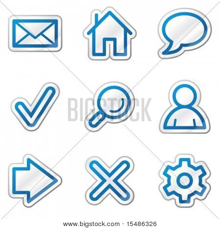 Basic web icons, blue contour sticker series