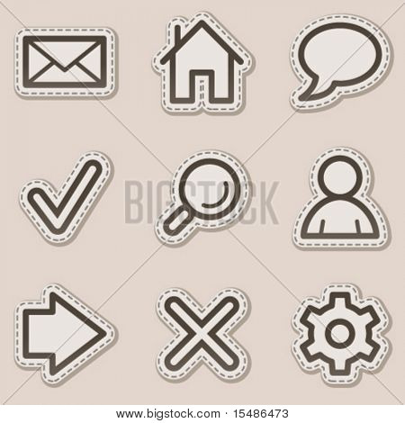 Basic web icons, brown contour sticker series