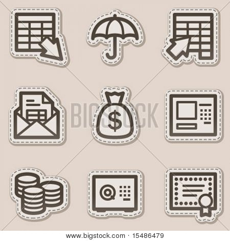 Banking web icons, brown contour sticker series