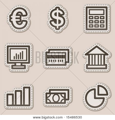 Finance web icons set 1, brown contour sticker series