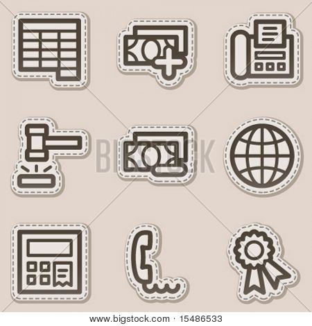 Finance web icons set 2, brown contour sticker series