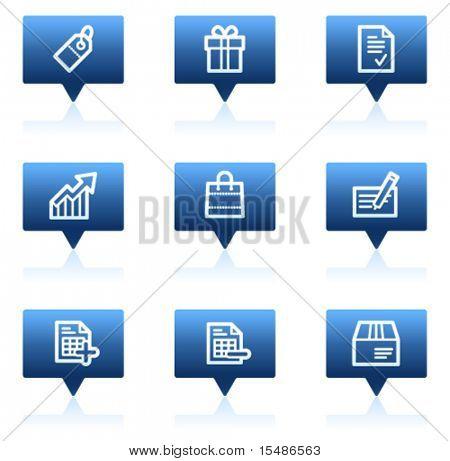 Basic web icons, blue speech bubbles sticker series