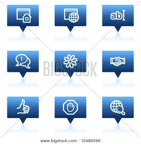 Internet web icons, blue speech bubbles sticker series
