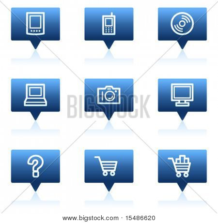 Electronics web icons set 1, blue speech bubbles sticker series