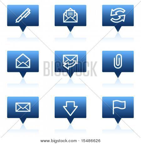 E-mail web ícones, azul discurso bolhas adesivo série