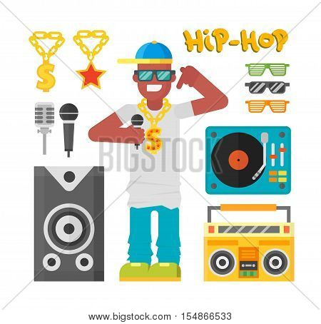 Hip hop man musician with microphone breakdance expressive rap portrait. Modern young hip hop man fashion person adult people. Hip hop man dancer trendy lifestyle urban handsome black rapper guy.