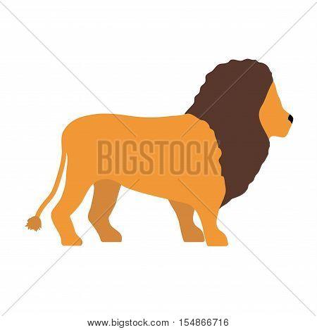 Lion wild animal vector illustration. Zoo wild cartoon lion graphic african design mascot. Safari fur feline big cartoon lion mammal animal. Wildlife africa zoo character jungle wild lion vector.