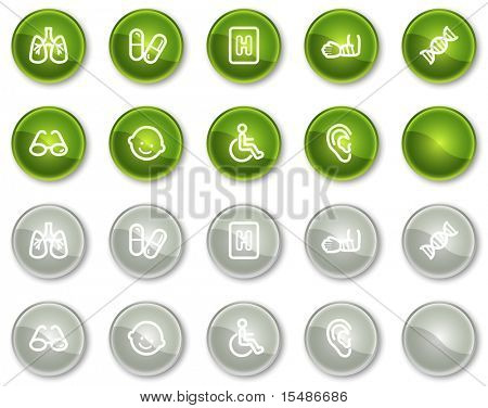 Medicine web icons set 2, green and grey circle buttons series