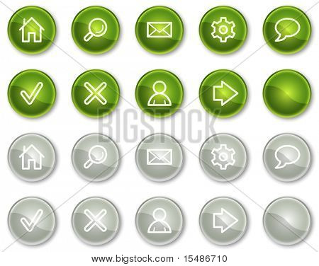 Basic web icons, green and grey circle buttons series