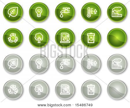 Ecology web icons set 1, green and grey circle buttons series