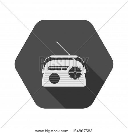 Vector icon of gray vintage radio with antenna on the hexagon background.