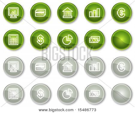 Finance web icons set 1, green and grey circle buttons series