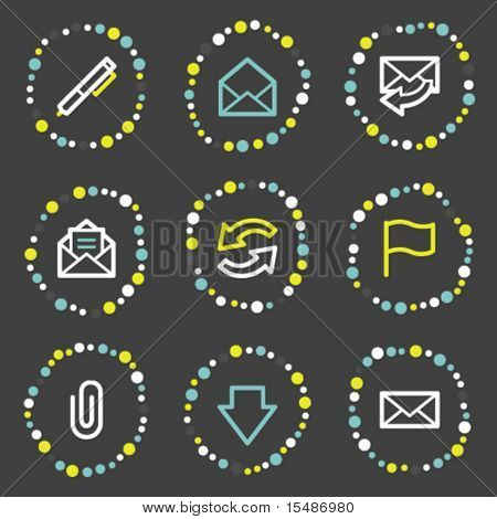 E-mail web icons, color dots series