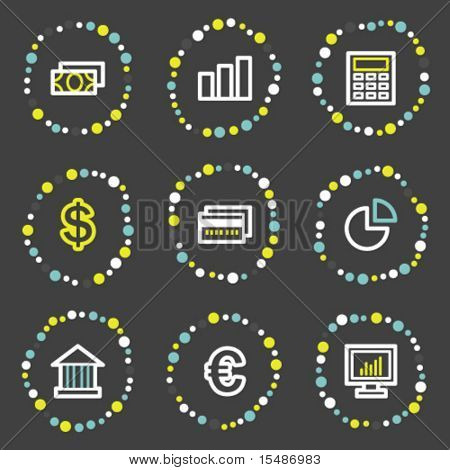 Finance web icons set 1, color dots series