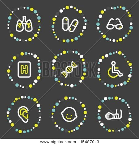 Medicine web icons set 2, color dots series