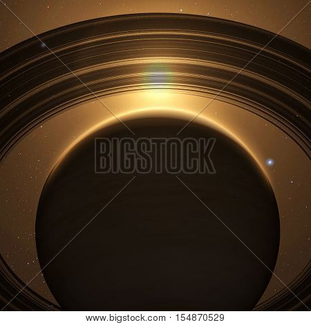 planet Saturn with rings at sunrise on the space background. 3D render. Elements of this image furnished by NASA