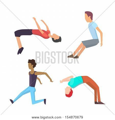Parkour trick people extreme sport cartoon vector silhouette or city sport parkour trick people pose, parkour flat trick vector people jump, fall tricks.