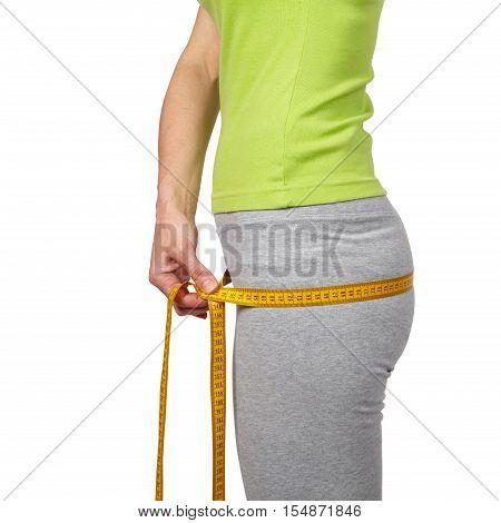 Slender Woman Measuring Her Waist