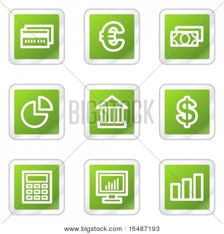 Finance web icons, green square sticker series
