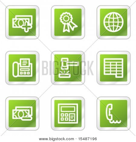 Finance web icons set 2, green square sticker series