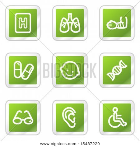 Medicine web icons set 2, green square sticker series