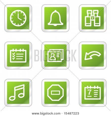 Organizer web icons, green square sticker series