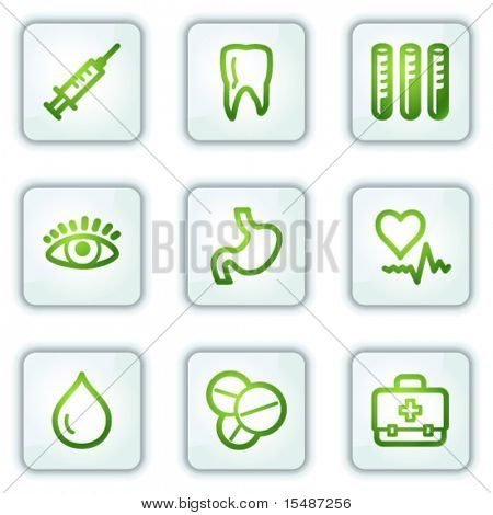 Medicine web icons, white square buttons series