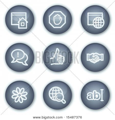 Internet communication web icons, mineral circle buttons series