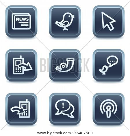 Internet web icons set 2, mineral square buttons series