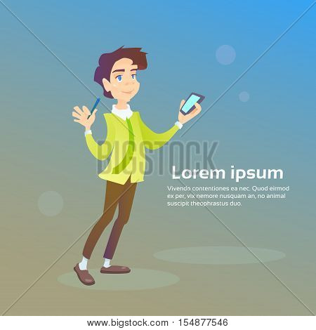 Man Hold Cell Smart Phone Chatting Texting, Social Network Communication Flat Vector Illustration