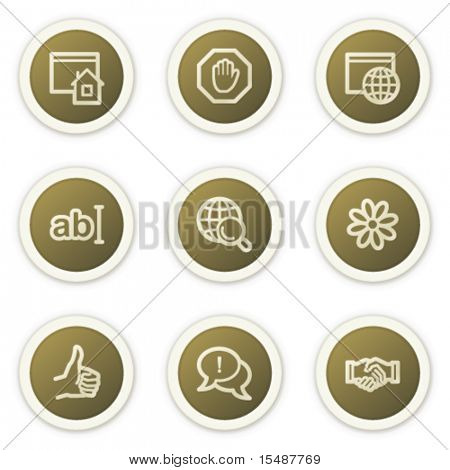 Internet web icons set 1, brown circle buttons series