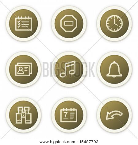 Organizer web icons, brown circle buttons series