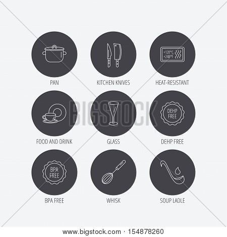 Kitchen knives, glass and pan icons. Food and drink, coffee cup and whisk linear signs. Soup ladle, heat-resistant and DEHP, BPA free icons. Linear icons in circle buttons. Flat web symbols. Vector