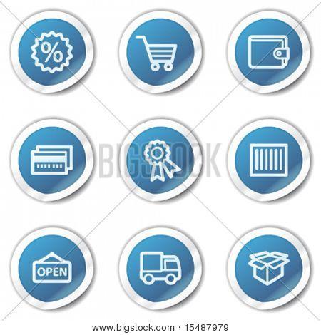 Shopping web icons set 2, blue sticker series