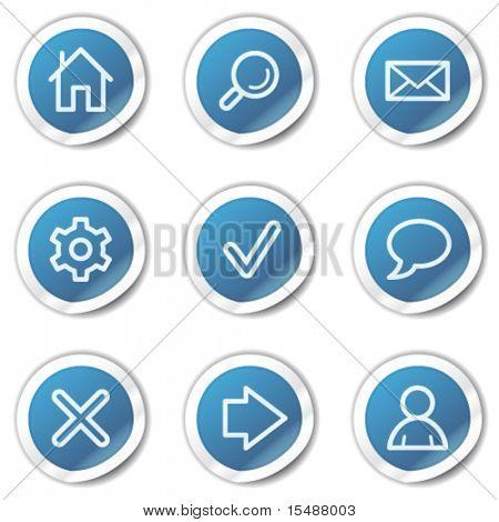 Basic web icons, blue sticker series