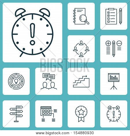 Set Of Project Management Icons On Presentation, Present Badge And Time Management Topics. Editable