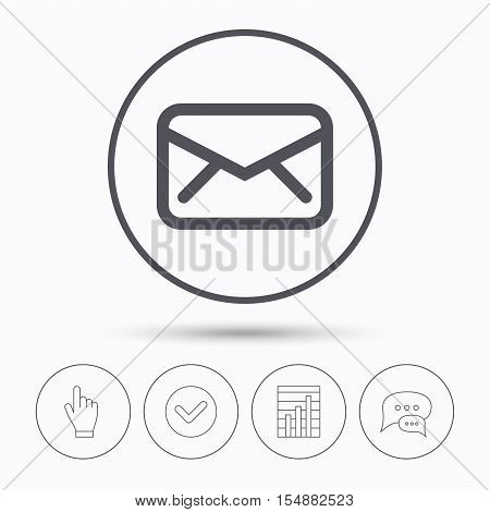 Envelope icon. Send email message sign. Internet mailing symbol. Chat speech bubbles. Check tick, report chart and hand click. Linear icons. Vector