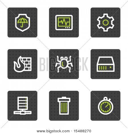 Internet segurança web ícones, botões quadrado cinzento de série