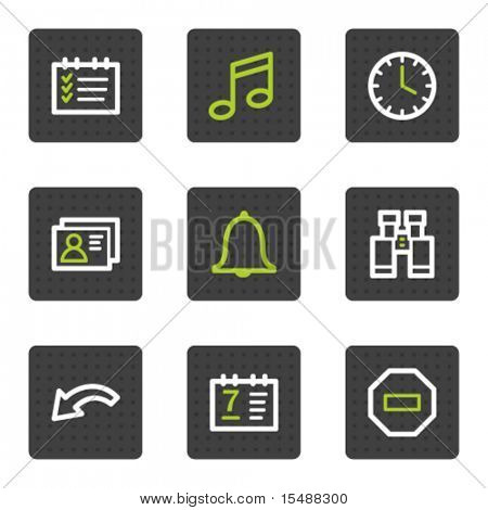 Organizer web icons, grey square buttons series