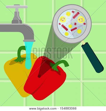Washing Contaminated Bell Peppers
