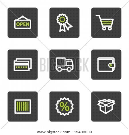 Shopping web icons set 2, grey square buttons series
