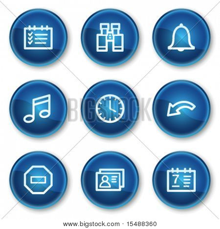 Organizer web icons, blue circle buttons