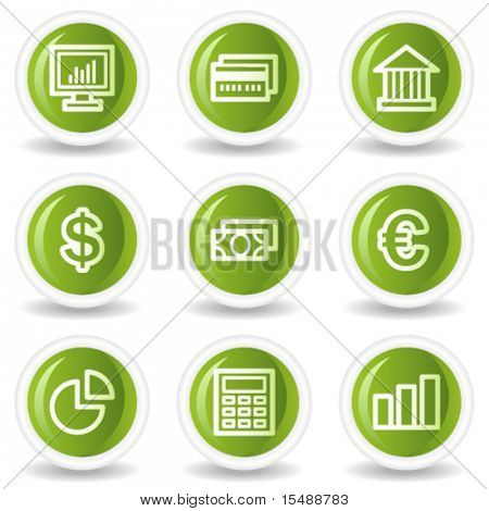 Finance web icons set 1, green circle buttons